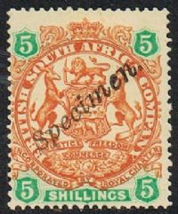 British South Africa Company SG49s 1896 Definitive 5/- SPECIMEN mounted mint